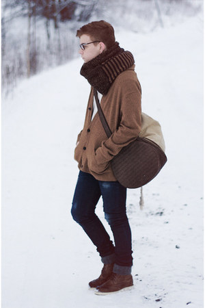 Zara jeans - H&M boots - dark brown Zara scarf - Zara bag