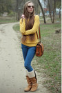 Nude-mango-boots-gold-forever-21-sweater-blue-bershka-pants
