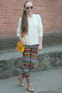 White-forever-21-sweater-gold-bershka-bag-gold-h-m-pants