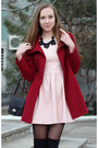 Light-pink-zara-dress-brick-red-forever-21-coat-black-mango-necklace