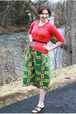 coral Gap cardigan - green vintage skirt - dark brown thrifted vintage belt - da