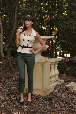 eggshell vintage vintage blouse - forest green green H&M pants
