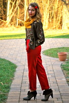 red thrifted pants - dark brown DSW boots - dark brown thrifted cardigan - gold