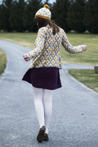 mustard Anthropologie cardigan - purple modcloth dress - mustard modcloth hat