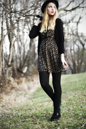 black TUK shoes - black modcloth dress - black H&M cardigan