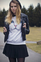 black TUK shoes - black Forever21 skirt - silver Skip n Whistle sweatshirt