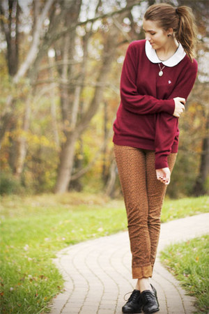 crimson thrifted christian dior sweater - brown cheetah Urban Outfitters pants