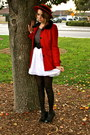 Red-forever21-coat-red-thrift-store-hat-heather-gray-forever21-shirt-white