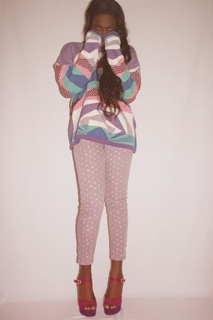 pastel mermaid vintage sweater - polka dot American Eagle pants