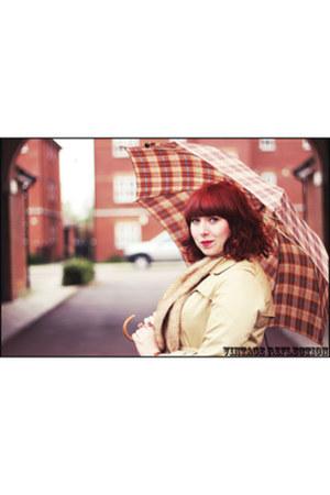 beige H&M coat - light brown Office shoes - light orange thrifted vintage dress