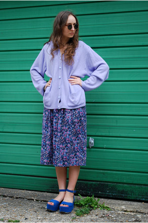 vintage 70s skirt - vintage 80s cardigan - strawberry flats
