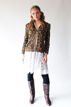 gold 80s Vintage blazer - brown 80s Vintage boots - white 70s vintage dress - bl