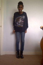 thrifted sweater - Betsey Johnson boots - washed out thrifted jeans