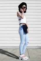 white 6ks vest - black PERSUNMALL bag - white Lovelywholesale sandals