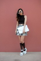 OASAP bag - OASAP socks - crop top Motel Rocks top - floral skirt skirt