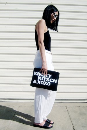 black Missguided shoes - black BangGood bag - white zeroUV sunglasses