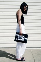 black Missguided shoes - black BangGood bag - white zeroUV sunglasses