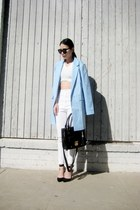sky blue abaday blazer - black azra black Lamoda bag - white abaday pants