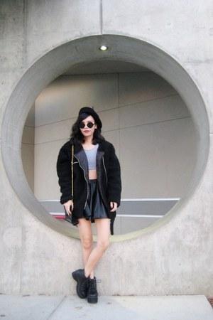 black punk style Rosewholesale boots - black OASAP coat - black OASAP hat