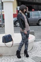 heather gray New Yorker jeans - black Zara jacket - tan H&M blouse