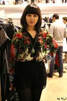 black Zara blouse - black H&M shorts - turquoise blue SIX necklace
