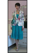 white from paris Zara jacket - turquoise blue Zara dress
