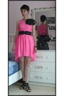 Hot-pink-lace-h-m-dress-black-fake-leather-h-m-belt