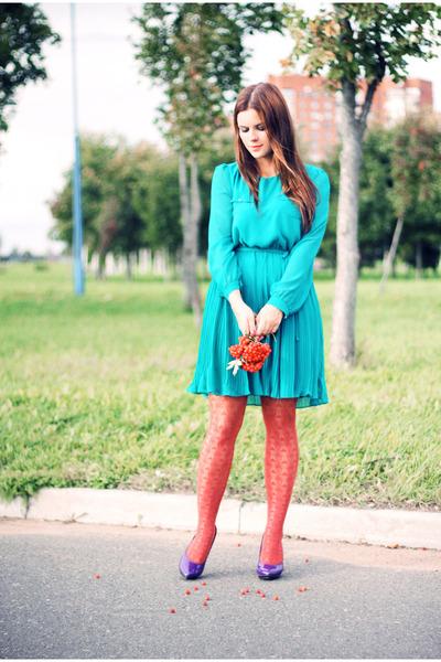 turquoise blue new look dress - carrot orange H&M stockings