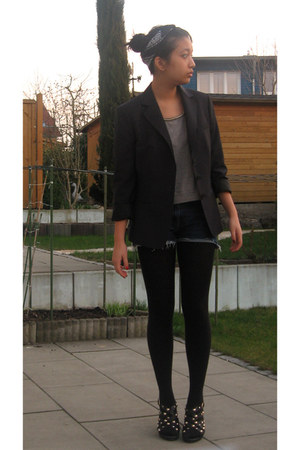 H&M sweater - Hugo Boss blazer - tights - self-cut Hugo Boss shorts - heels