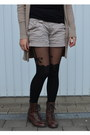 H-m-scarf-boots-shorts-stockings-h-m-top-zara-cardigan