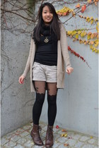 stockings - boots - H&M scarf - shorts - H&M top - Zara cardigan