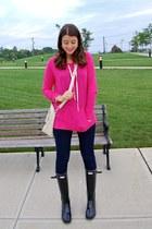 hot pink American Eagle sweater - black Hunter boots - ivory Nordstrom bag
