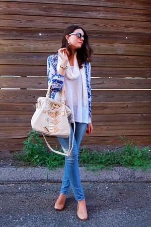 ivory Nordstrom bag - white Zara top - blue Mango cardigan