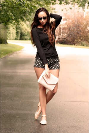 H&amp;M bag - Jcrew shirt - polka dots madewell shorts - Zara flats