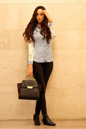 black ankle boots Giuseppe Zanotti boots - light blue chambray-denim Zara shirt