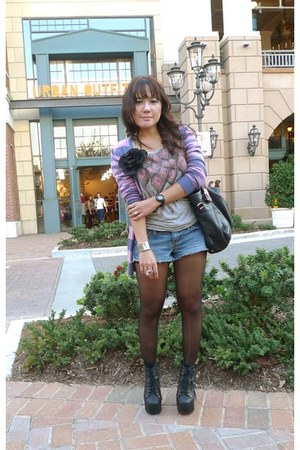 denim shorts - black Jeffrey Campbell boots - sacca Prada bag