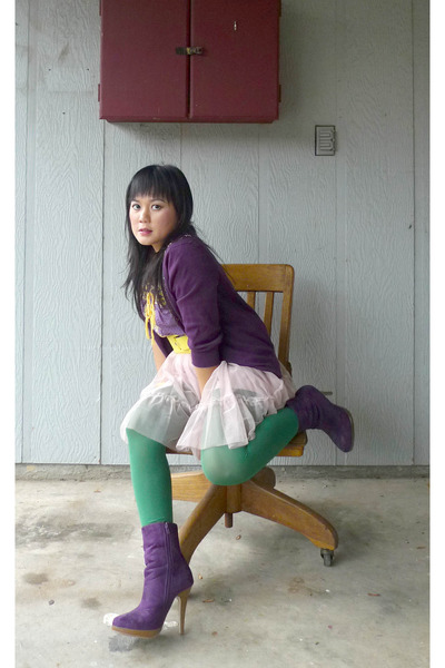 purple Delicious boots - yellow Love Culture belt - Romeo et Juliet Couture blou