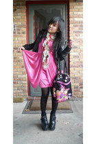 black harness Balenciaga Imi boots - hot pink Drape dress - roses Charlotte Russ