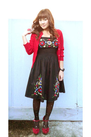 embroidered dress - red Ralph Lauren cardigan