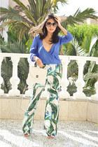 blue wrap Zara shirt - white satchel Accessorize bag - white Zara pants