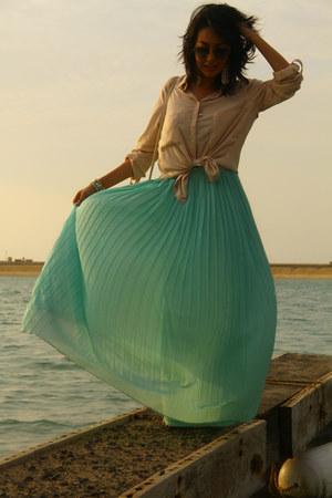 aquamarine iconic skirt - beige Bershka shirt