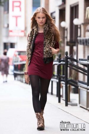 combat boots Shasa boots - sweater dress Shasa dress - faux fur Shasa vest