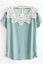 loose fit dot pattern lace t shirt - kawaii mint - 1892589609
