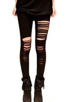 *free ship* black ripped leggings