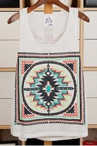 *free ship* aztec geometry pattern white loose fit tank top - SV004877