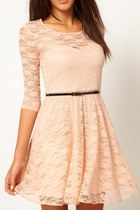 *free ship* long sleeves lace skater dress - beige - 16855