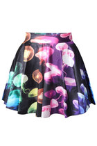 *free ship* jellyfish galaxy print pleated mini skater skirt