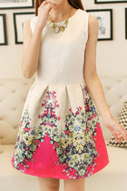*free ship* sleeveless retro floral print skater dress pink - SV001784