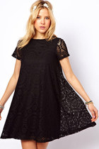 Boho chic Summer black lace loose dress hippie