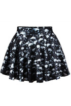*free ship* skul print pleated mini skater skirt - 1850411031